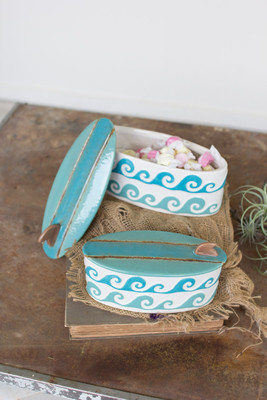 ceramic surfboard & waves canisters