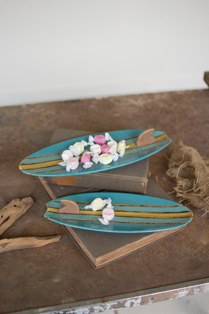 Set Of 2 Surfboard Platters