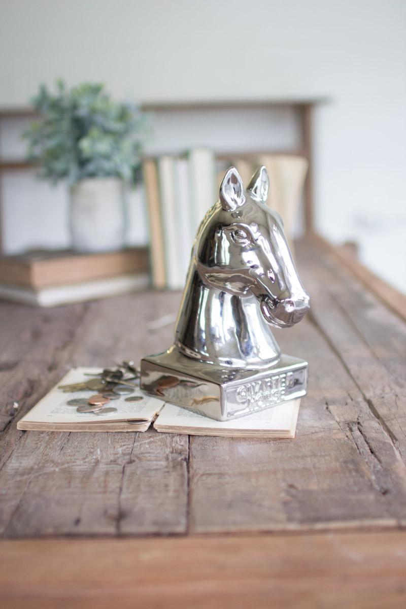 silver ceramic quarter horse bank