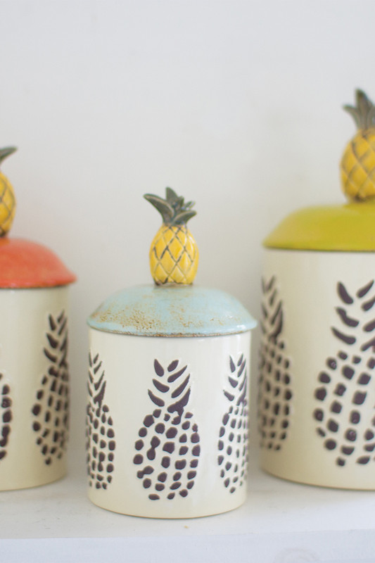 CERAMIC PINEAPPLE CANISTERS