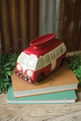 red ceramic surf van canister