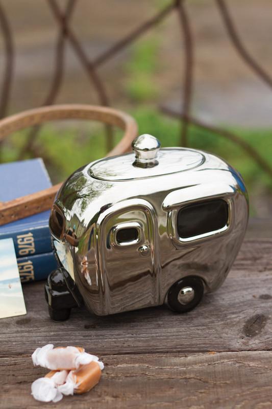 silver ceramic camper canister