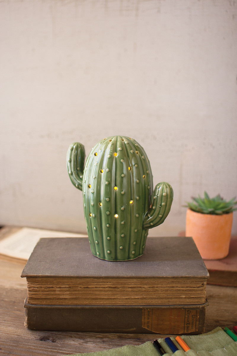 CERAMIC CACTUS NIGHT LIGHT