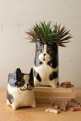 Set of 2 Ceramic Dog Planters