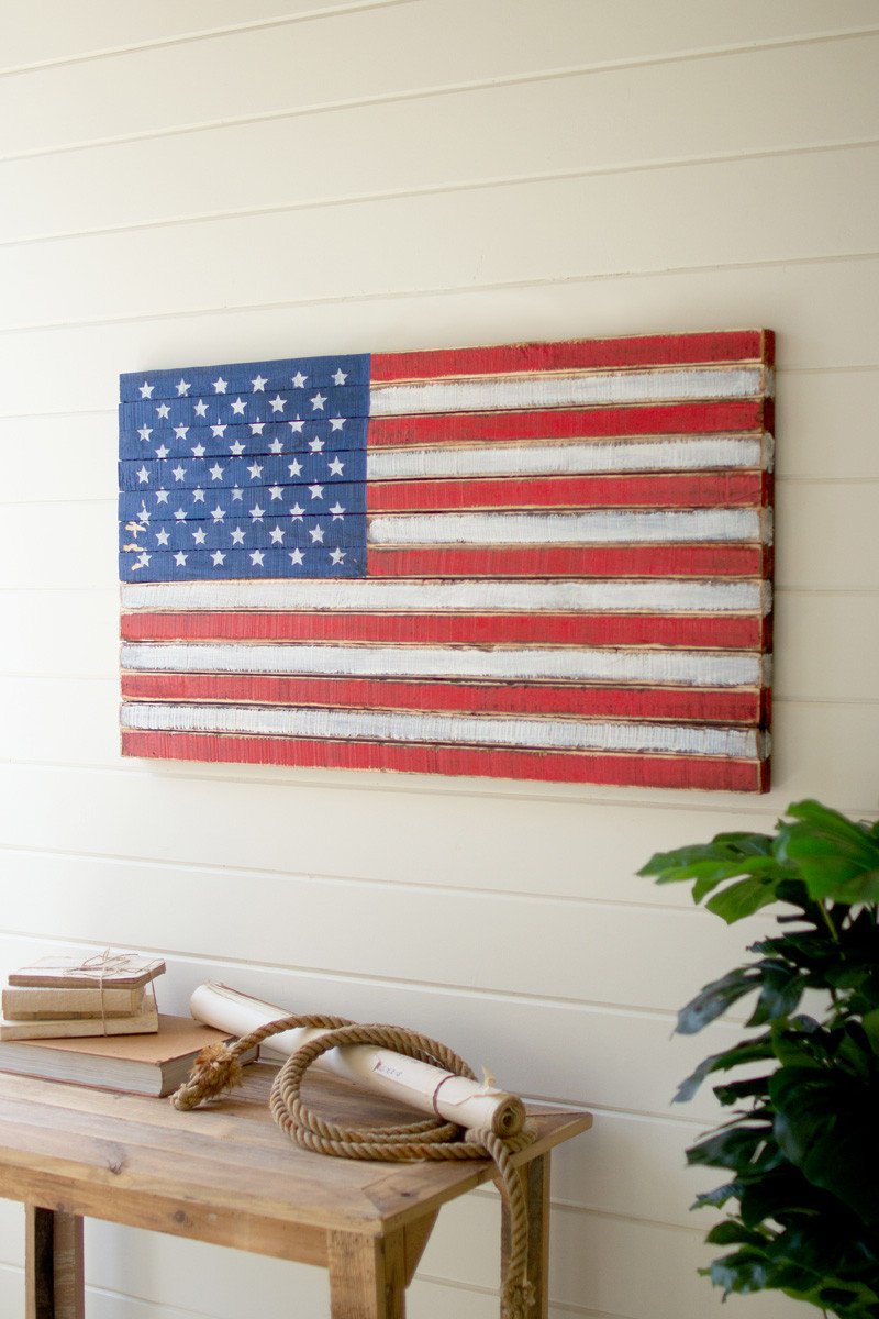 wooden american flag