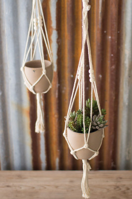 macramé hanger with clay pot