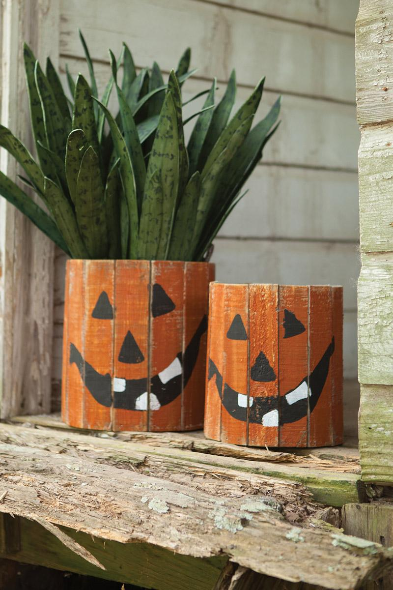set of 2 round wooden planters - jack-o-lantern