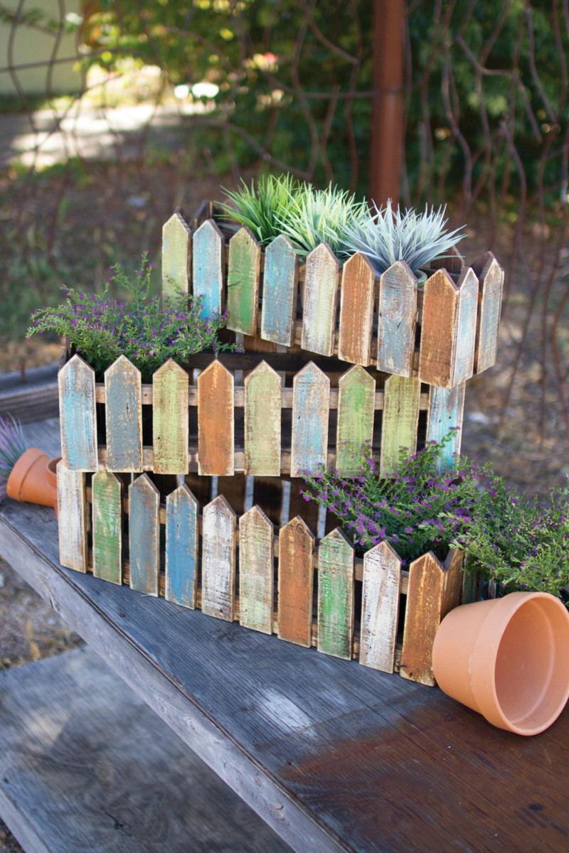 Home / set of 3 wooden picket fence planters