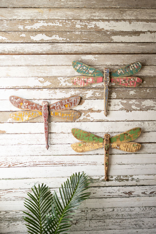 Set of 3 Rustic Wooden Dragonflies Wall Art