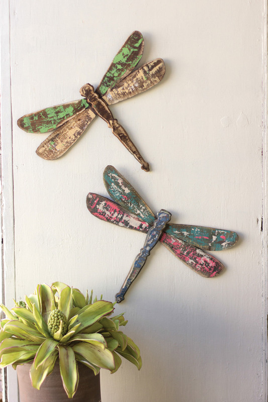 set of two wooden dragonfly wall art