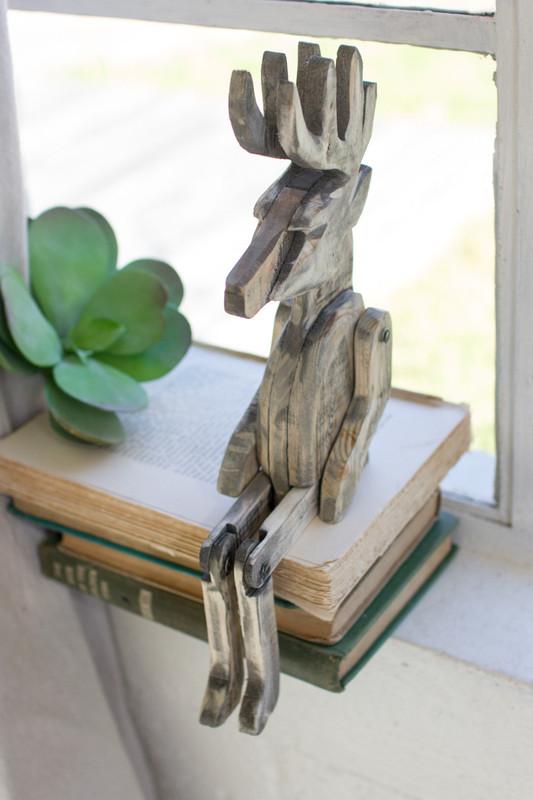 recycled wood deer shelf sitter
