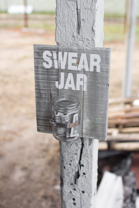wooden wall hanging swear jar sign