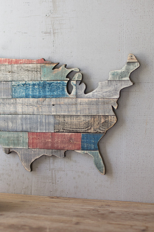 RECYCLED WOODEN USA MAP WALL ART