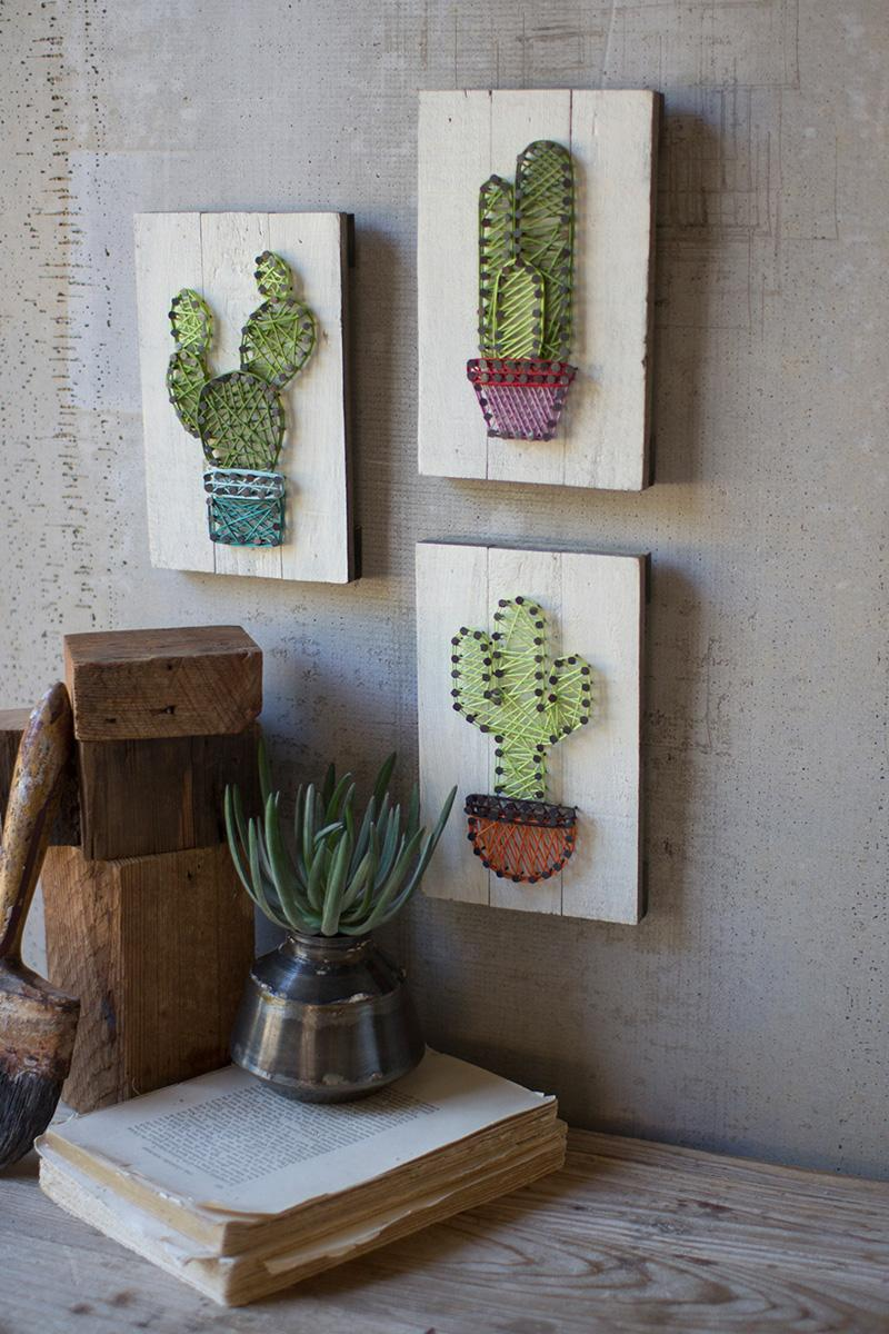 Set Of 3 Cactus String Art On Wooden Plaques