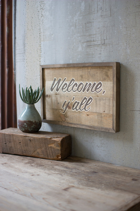 WOODEN WELCOME YALL SIGN