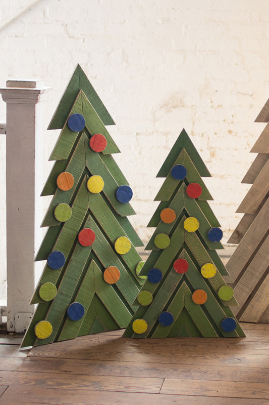 Set of 2 Green Wooden Christmas Trees with Ornaments