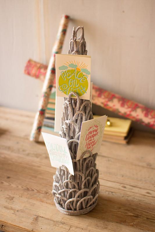 vine topiary Christmas card holder