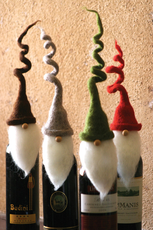 curly hat santa wine toppers