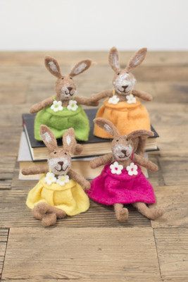 set of 4 felt rabbits