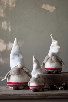 set of 3 whimsy gnomes with white hats