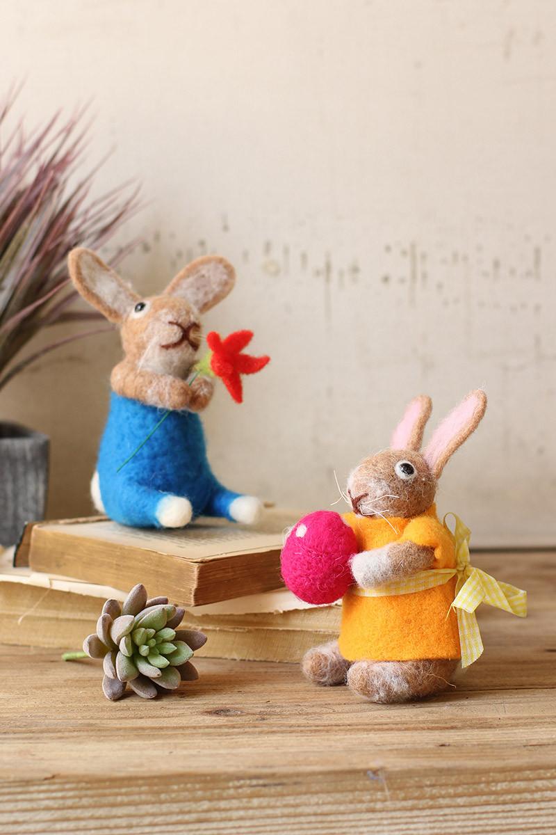set of 2 felt boy and girl rabbits