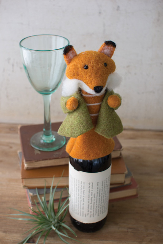 felt fox wine topper