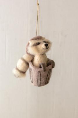 felt raccoon ornament