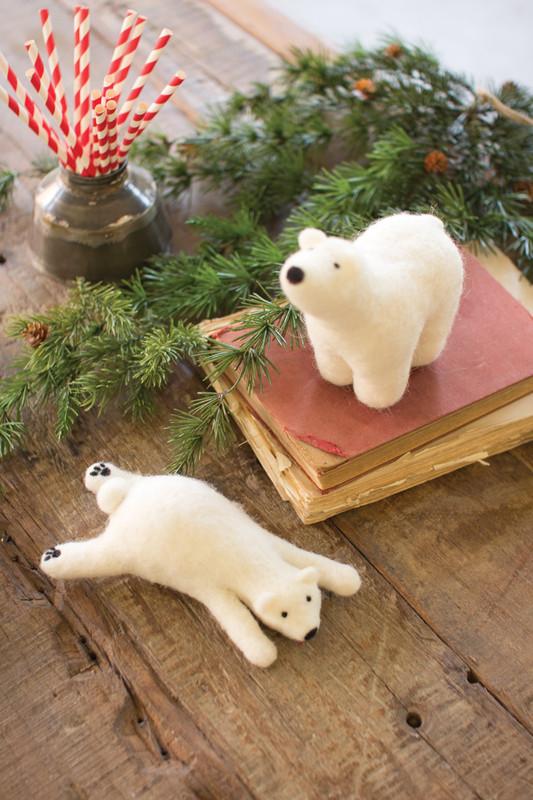 TWO FELT POLAR BEARS