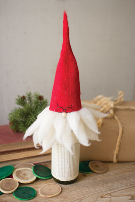 FELT SANTA WITH GLASSES WINE TOPPER