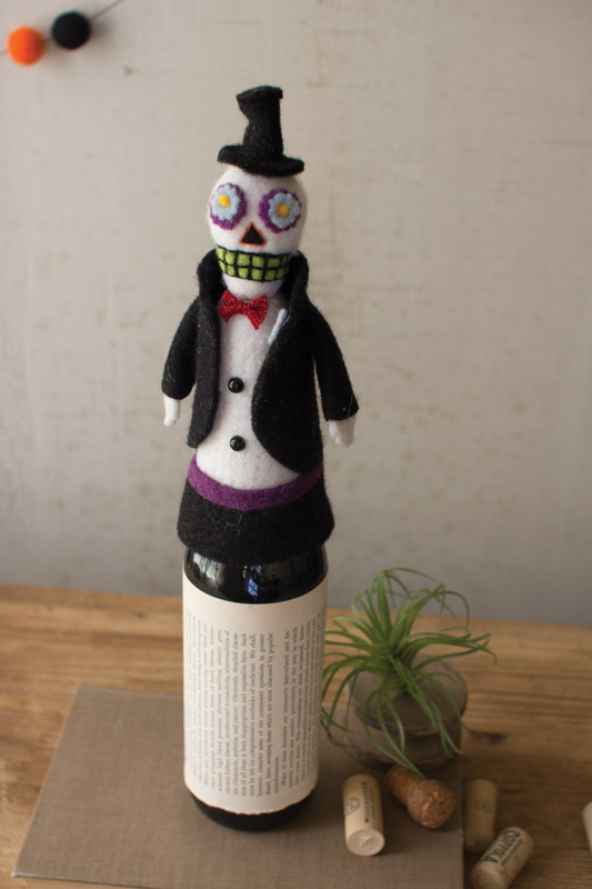 FELT SKELETON IN A TUX WINE TOPPER