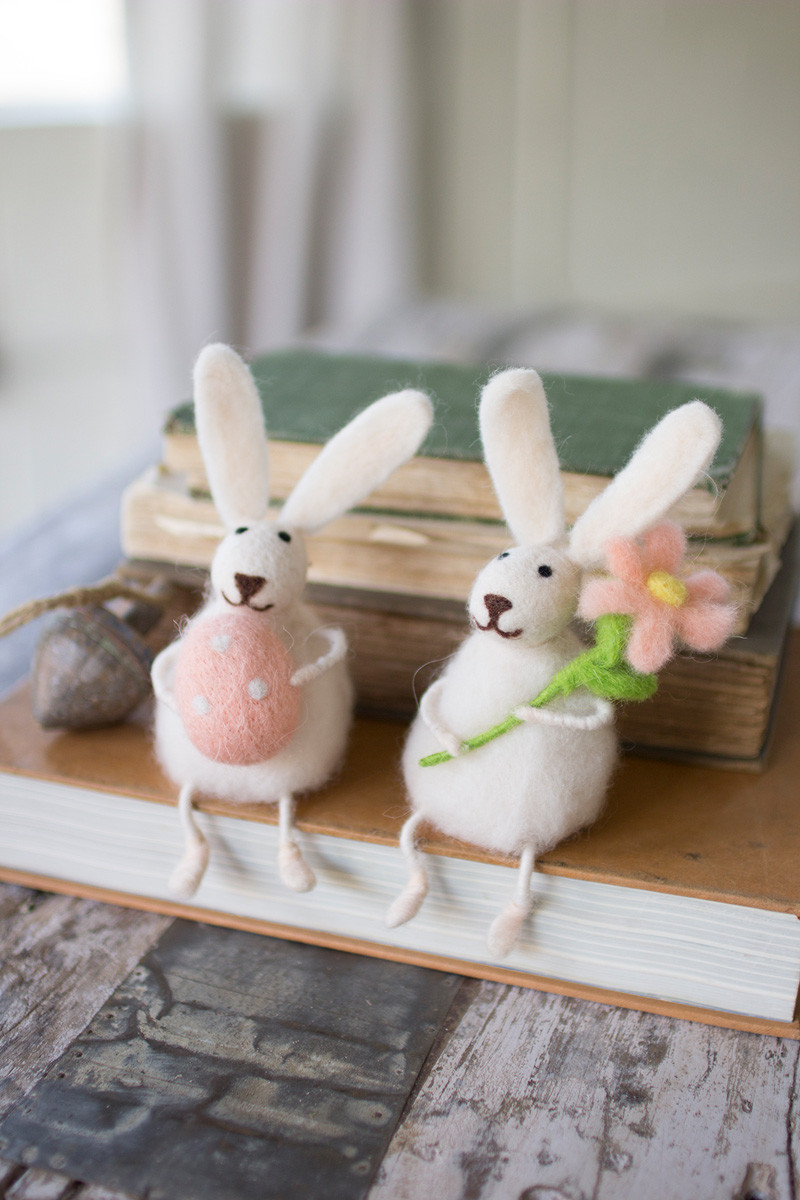 Set Of 2 Felt Rabbits With Flower And Egg