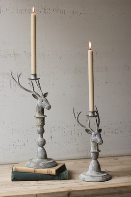 SET OF TWO DEER CANDLE HOLDERS