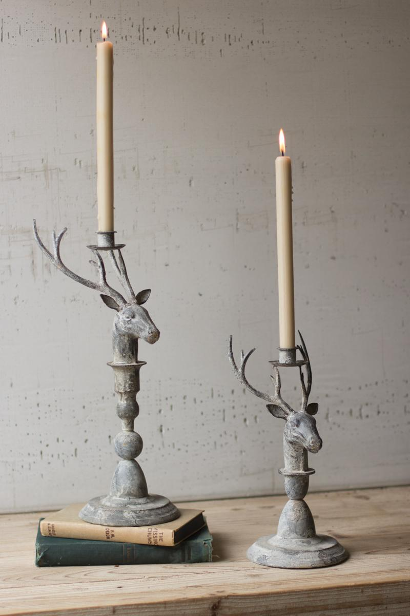 set  2 metal deer taper candle holders