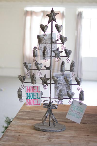 rustic grey metal christmas card tree