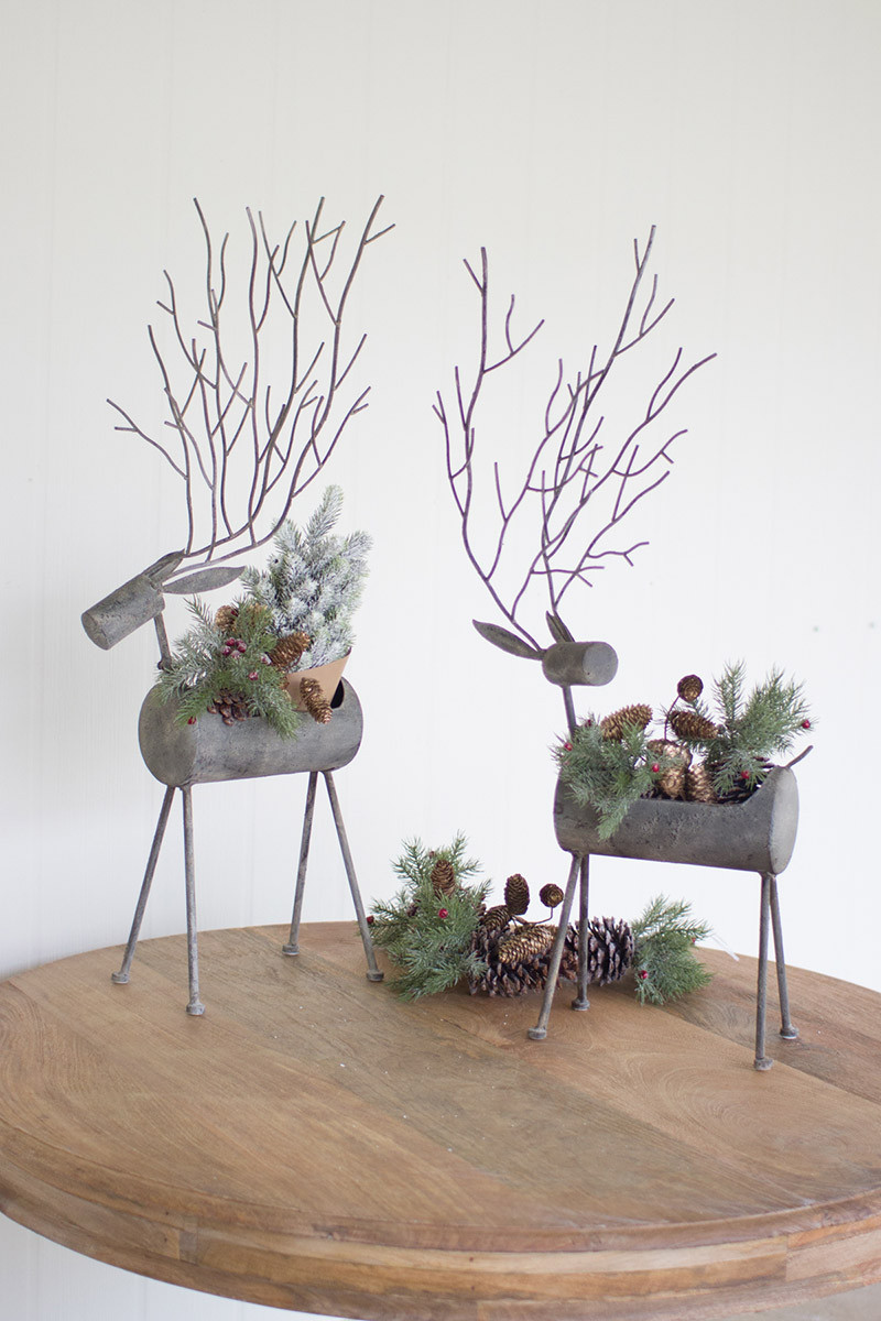 Set Of 2 Metal Deer Planters Rustic Grey