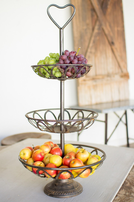 metal three tiered serving tower