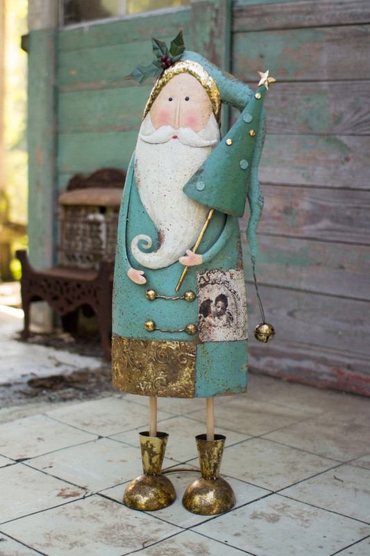 painted metal Santa with tree