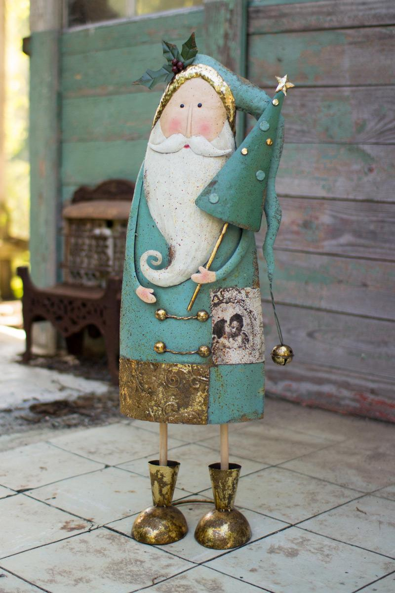 Painted Metal Santa With Tree