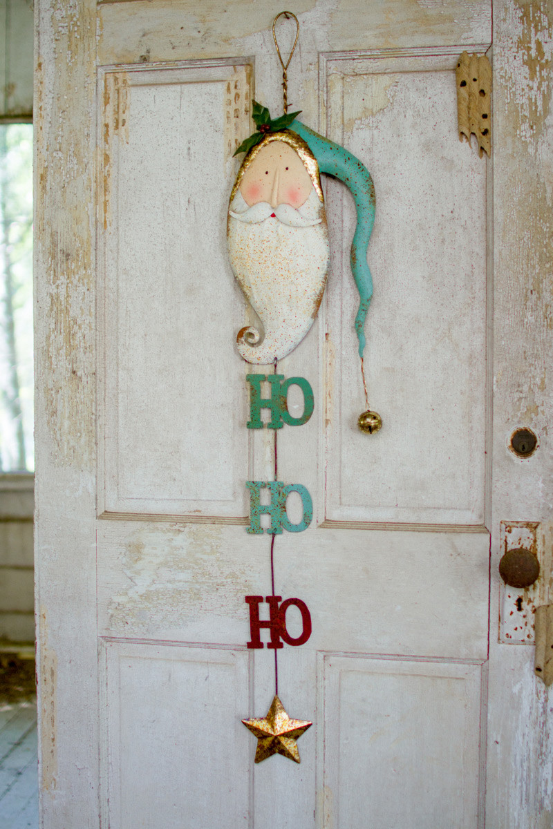 Painted Metal Santa With Bell Door Hanger