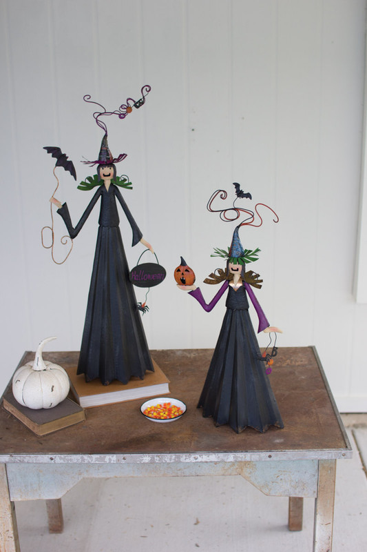 SET OF TWO PAINTED METAL WITCHES