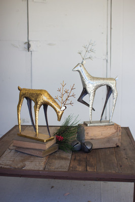SET OF TWO PAINTED METAL DEER