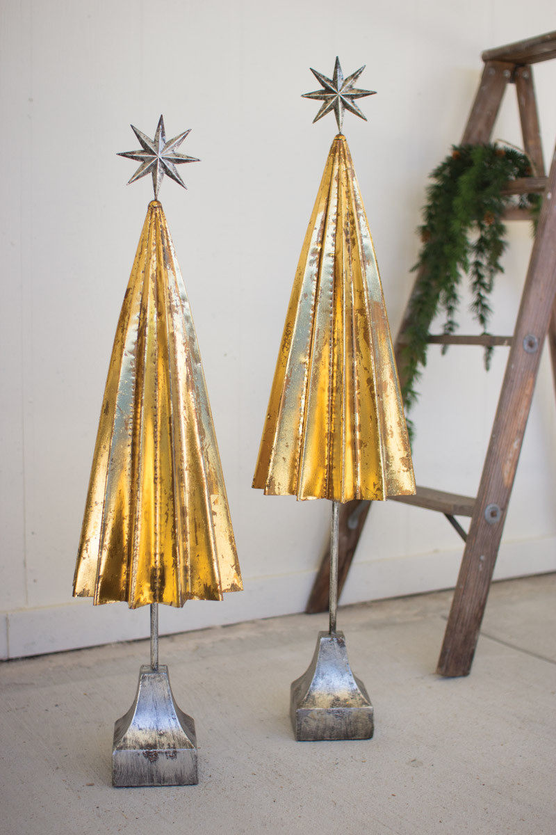 OLDED GOLD METAL TREES WITH SILVER