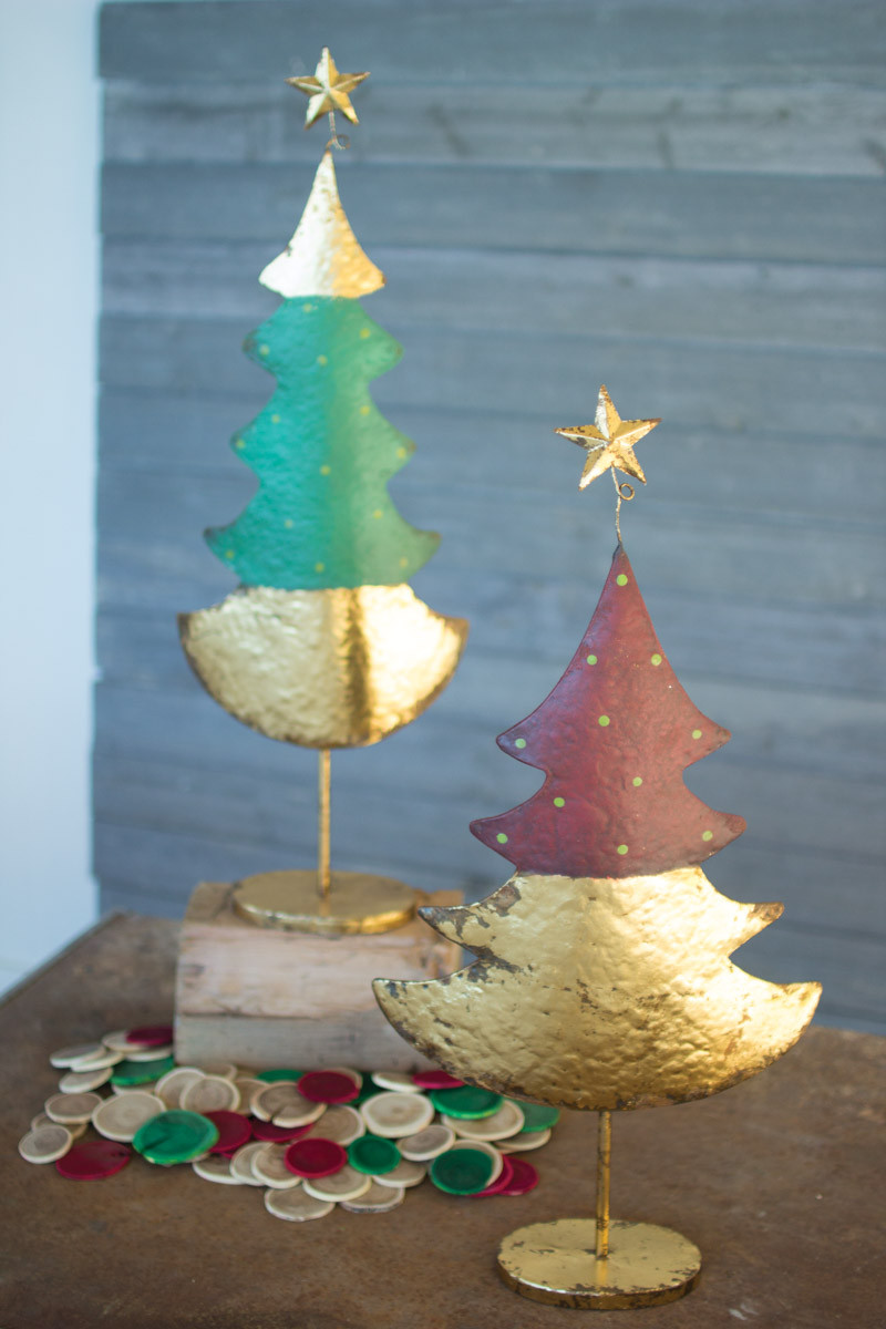 GREEN RED AND GOLD CHRISTMAS TREES