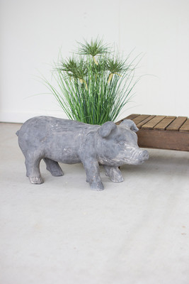 FAUX STONE PIG