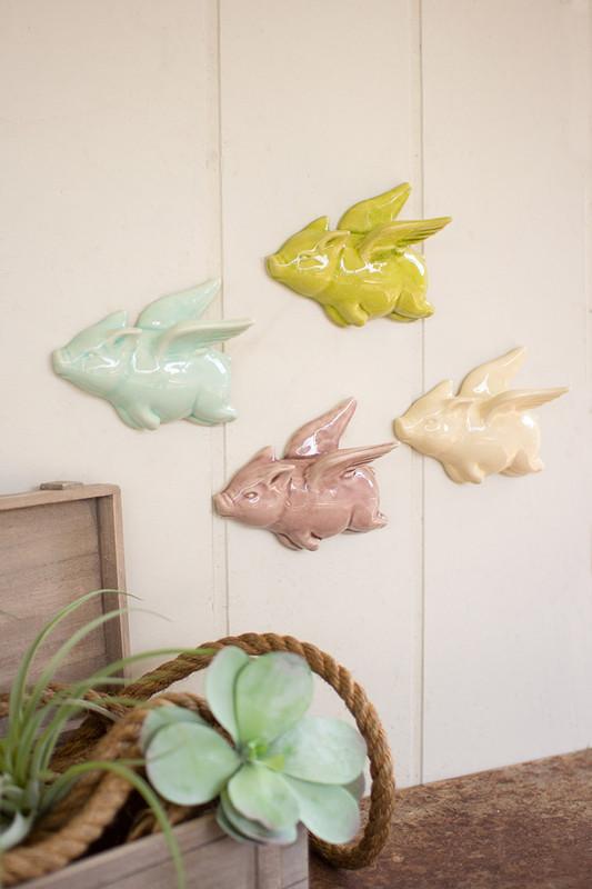 set of 4 ceramic flying pigs