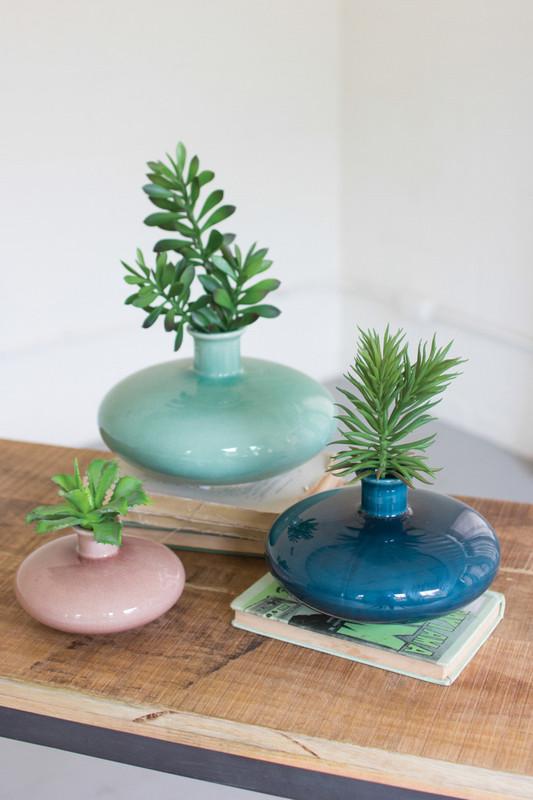 set of three ceramic vases - rose, mint, lagoon blue