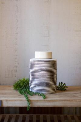 ceramic grey striped canister