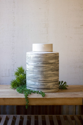 ceramic grey striped canister