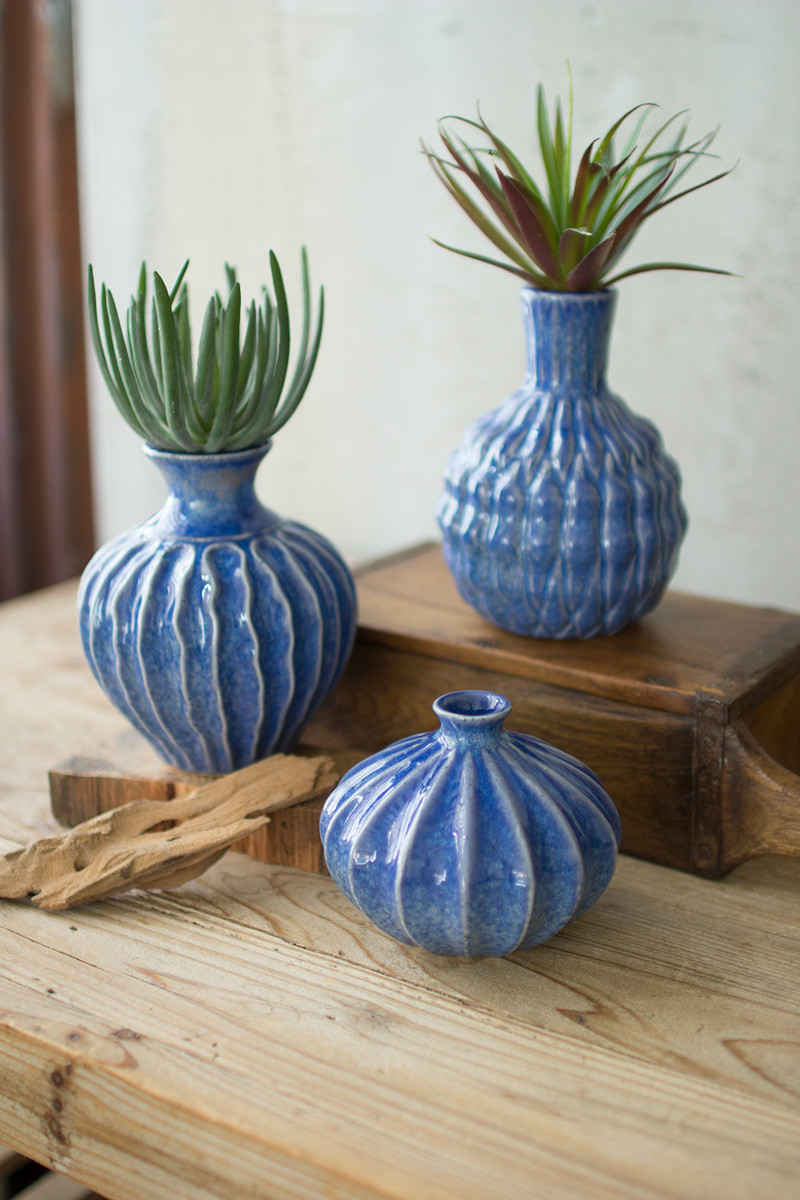 BLUE CERAMIC VASES