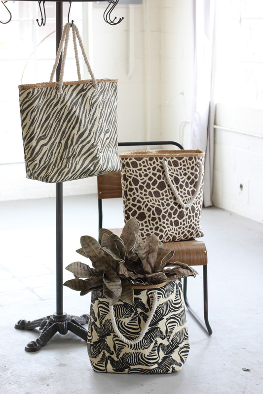 SET of 3 ANIMAL PRINT PAPER BAGS WITH ROPE HANDLES
